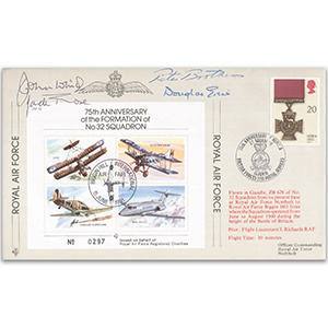 1991 75th Anniversary No. 32 Squadron - Flown cover - Signatures include Pete Brothers CBE