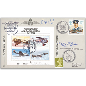 1992 Disbandment No. 56 Squadron - Signatures include F Higginson OBE