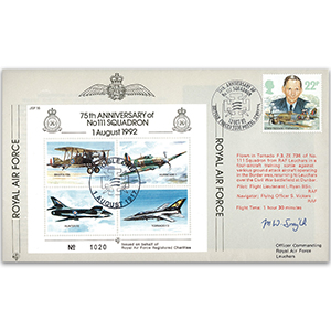 1993 75th Anniversary of No.111 Squadron - Flown cover signed by M W Smyth