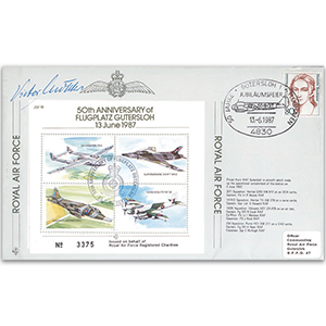 1987 Flugplatz Gutersloh 50th - Flown cover signed by V. Molders Gutersloh