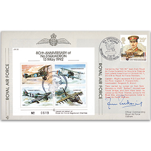 1992 80th Anniversary of No.3 Squadron - Flown cover signed by J Pickering AFC