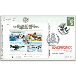 1988 Farnborough 40th - Flown cover signed by G Unwin DSO