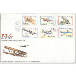 1975 Rhodesia, 75th Anniversary of Powered Flight cover