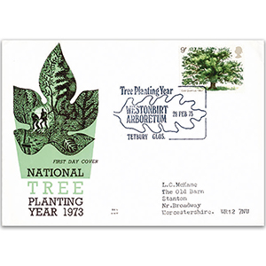 1973 National Tree Planting Year Benham Engraved Cover