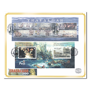 2005 Battle of Trafalgar Benham 100 Cover - Royal Mail & Isle of Man M/S