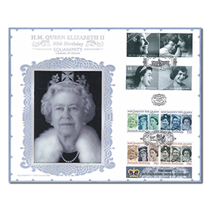 2006 HM The Queen's 80th Birthday Benham 100 Cover - Lenticular Portrait with 60th Birthday Stamps