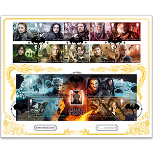 2018 Game of Thrones Stamps - 'Benham 100' Cover