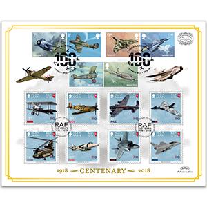 2018 RAF Centenary Stamps 'Benham 100' Cover