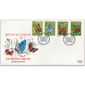 1981 Butterflies British Library Cover - Hand-coloured