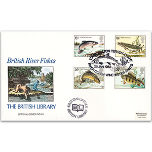 1983 British River Fishes British Library Cover - Hand-coloured