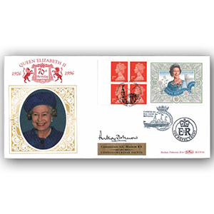 1996 Queen's 70th Birthday Retail Booklet BLCS - Signed by Commodore Anthony Morrow RN