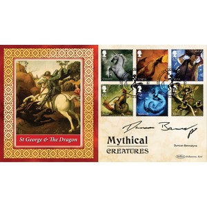 Duncan Bannatyne sig Mythical Creatures stamps B.L.C.S.2500
