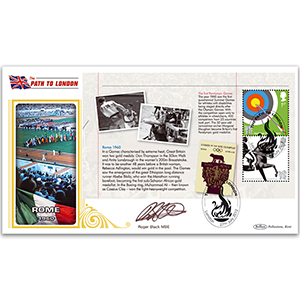 2012 Games PSB Cover 2 Rome 2 x 1st Class Signed Roger Black