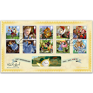 2015 Alice in Wonderland Stamps BLCS 2500 - Signed by Michael Crawford CBE