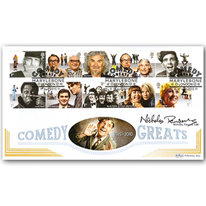 Nicholas Parsons CBE Signed Comedy Greats Stamps BLCS 5000