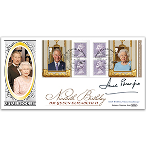 2016 Queen's 90th Retail Booklet No.1 BLCS 5000 - Signed by Sarah Bradford, Viscountess Bangor