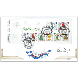 2016 Christmas Barcoded Mini Sheet Ltd Ed 1000 - Signed Kevin Doyle