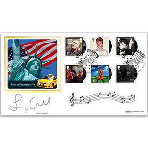 2017 David Bowie Stamps BLCS 2500 - Signed by Simon Cowell