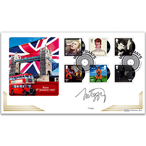 2017 David Bowie Stamps BLCS 5000 - Signed by Twiggy
