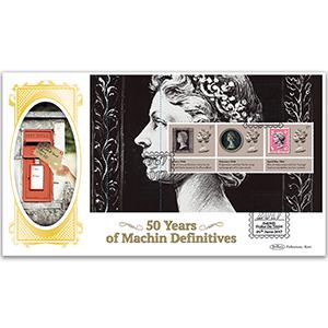 2017 Machin 50th Anniversary PSB BLCS Cover 1 - (P1) 1st x 3 (Penny Black) Pane