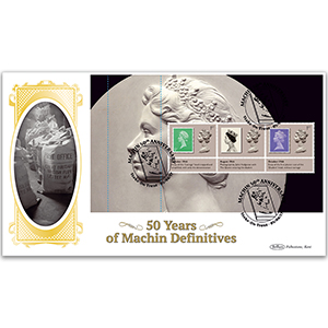 2017 Machin 50th Anniversary PSB BLCS Cover 2 - (P2) 1st x 3 (6d Green) Pane
