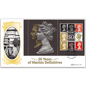 2017 Machin 50th Anniversary PSB - BLCS Cover 3 (P4) 2 x 20p/6 x 1st Pane