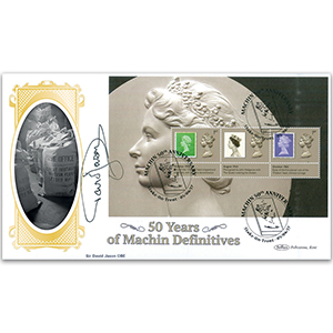 2017 Machin 50th Anniv. PSB BLCS Cover 2 - (P2) 1st x 3 (6D Green) Pane - Signed Sir David Jason OBE