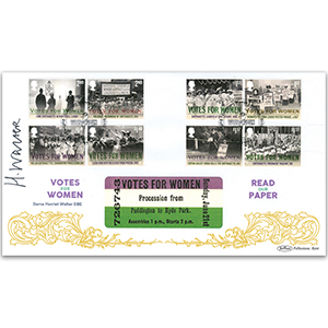2018 Dame Harriet Walter DBE Signed VOTES FOR WOMEN STAMPS BLCS 2500