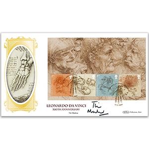 2019 Leonardo da Vinci PSB BLCS Cover 2 - Pane 1 (4 x 1st Class Wildlife) - Signed Tim Marlow