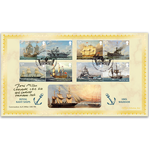 2019 Royal Navy Ships Stamps BLCS 2500 - Signed Commodore Miller CBE