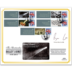 2010 Halley's Comet Commemorative Sheet BLCSSP Cover 1 Signed Prof Brian Cox OBE