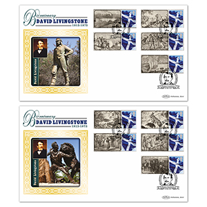 2013 David Livingstone Bicentenary Commemorative Sheet BLCSSP Pair of Covers