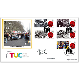 2018 150th Anniversary of the TUC Commemorative Sheet BLCSSP - Cover 2 - Signed Sir Brendan Barber