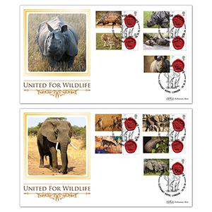 2018 United for Wildlife Commemorative Sheet BLCS Pair of Covers