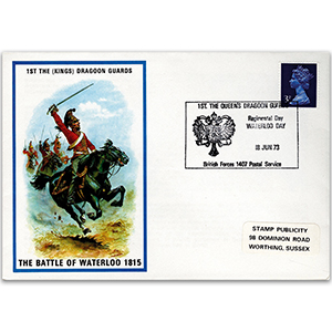 1973 British Military Uniforms - 1st the Dragoon Guards - 3p Stamp & Waterloo H/S