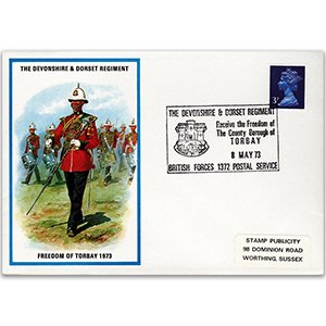 1973 British Military Uniforms - Devon & Dorset Regiment - 3p Stamp & Devon H/S