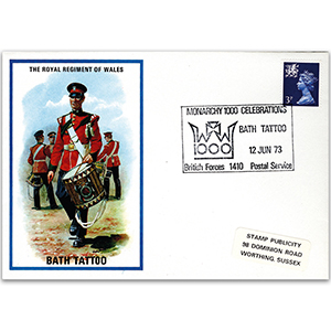 1973 British Military Uniforms - Regiment of Wales - 3p Stamp & Bath Tattoo H/S