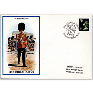 1974 British Military Uniforms - The Scots Guards - 3.5p Stamp & Edingburgh H/S