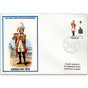 1973 British Military Uniforms - Kings Own Scottish Borderers - 1p Stamp & Gibraltar H/S