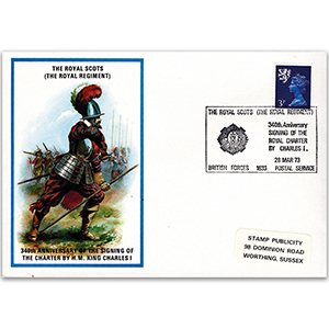 1973 British Military Uniforms - Royal Scots - 3p Stamp & Royal Scots H/S