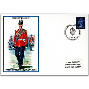 1974 British Military Uniforms - Queens Regiment - 3p Stamp Presentation of new colours