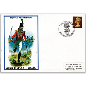 1974 British Military Uniforms - Royal Welsh Fusiliers - 4p Stamp & Army Wales H/S