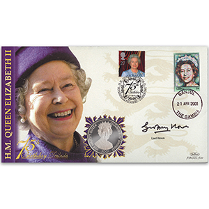 2001 HM The Queen's 75th Birthday Coin Cover - Signed by Lord Howe - Doubled Banjul