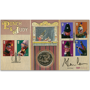 2001 Punch & Judy Coin Cover - Signed by Alan Coren