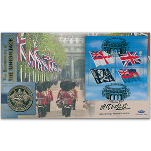 2001 Flags & Ensigns M/S Coin Cover - Signed by Admiral Sir Hugo White GCB CBE DL