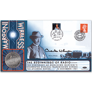 2001 Marconi Coin Cover - Signed by Charles Wheeler