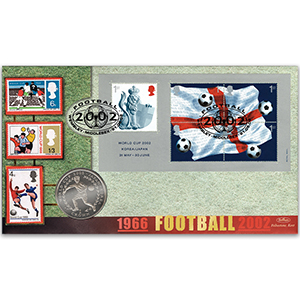 2002 World Cup M/S Coin Cover - Wembley - Isle of Man Crown