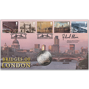 2002 Bridges of London Coin Cover - Signed by Michael Oliver