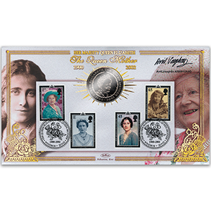2002 Queen Mother 'In Memoriam' £5 Coin Cover - Signed by Avril Vaughan ARBS FSNAD