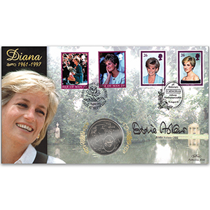 2002 Princess Diana 5th Anniversary £5 Commemorative Coin - Doubled - Signed by Eddie Askew OBE